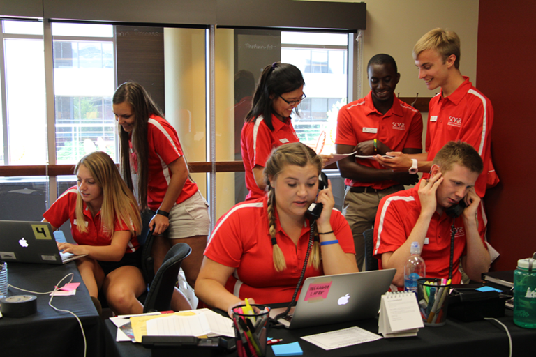 SOAR Orientation Assistants answering phones