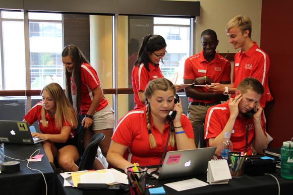 SOAR Orientation Assistants answering phones