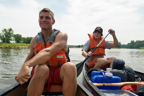 Students kayaking in Lake Mendota