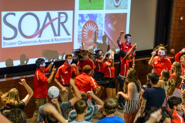 SOAR New Student Leaders welcome guests in Union South Varsity Hall