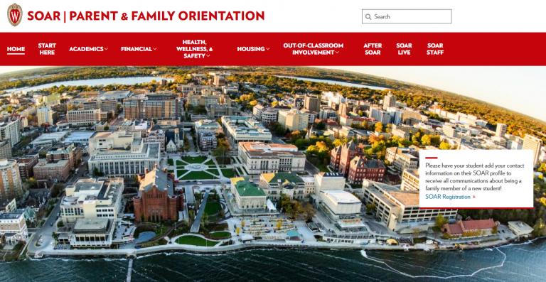 Screenshot of the SOAR Parent & Family Orientation website homepage.