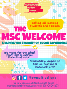 A flyer describing the MSC Welcome event. Details on the photo are explained in the text description below.